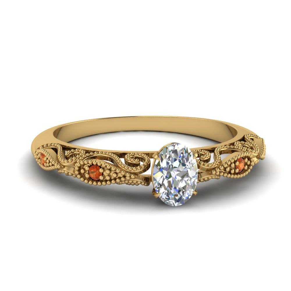 paisley oval diamond engagement ring with orange sapphire in FD69805OVRGSAOR NL YG.jpg