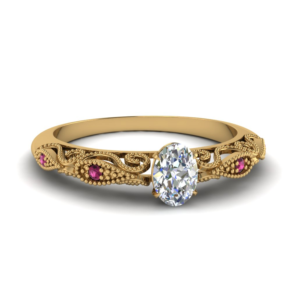 paisley oval diamond engagement ring with pink sapphire in FD69805OVRGSADRPI NL YG.jpg