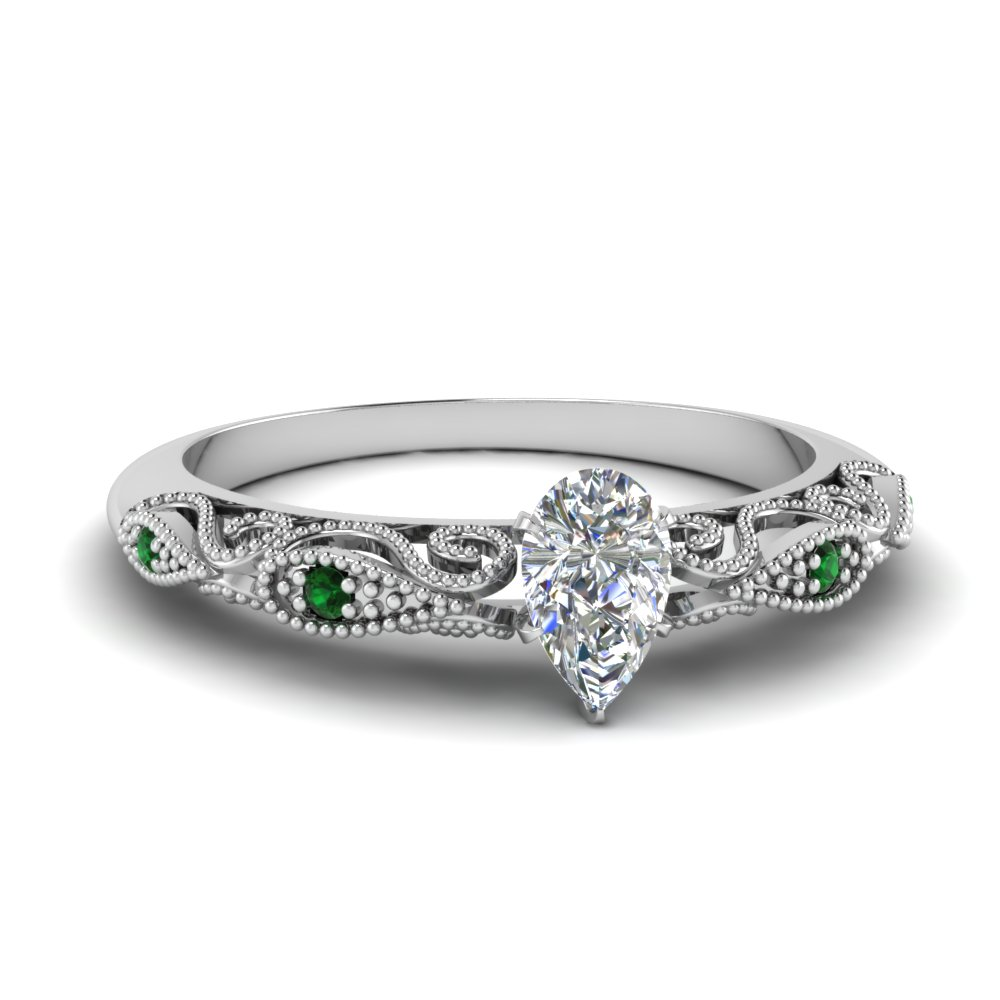 paisley pear diamond engagement ring with emerald in FD69805PERGEMGR NL WG.jpg