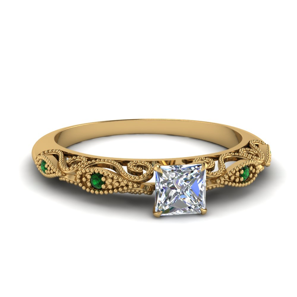 paisley princess cut diamond engagement ring with emerald in FD69805PRRGEMGR NL YG.jpg