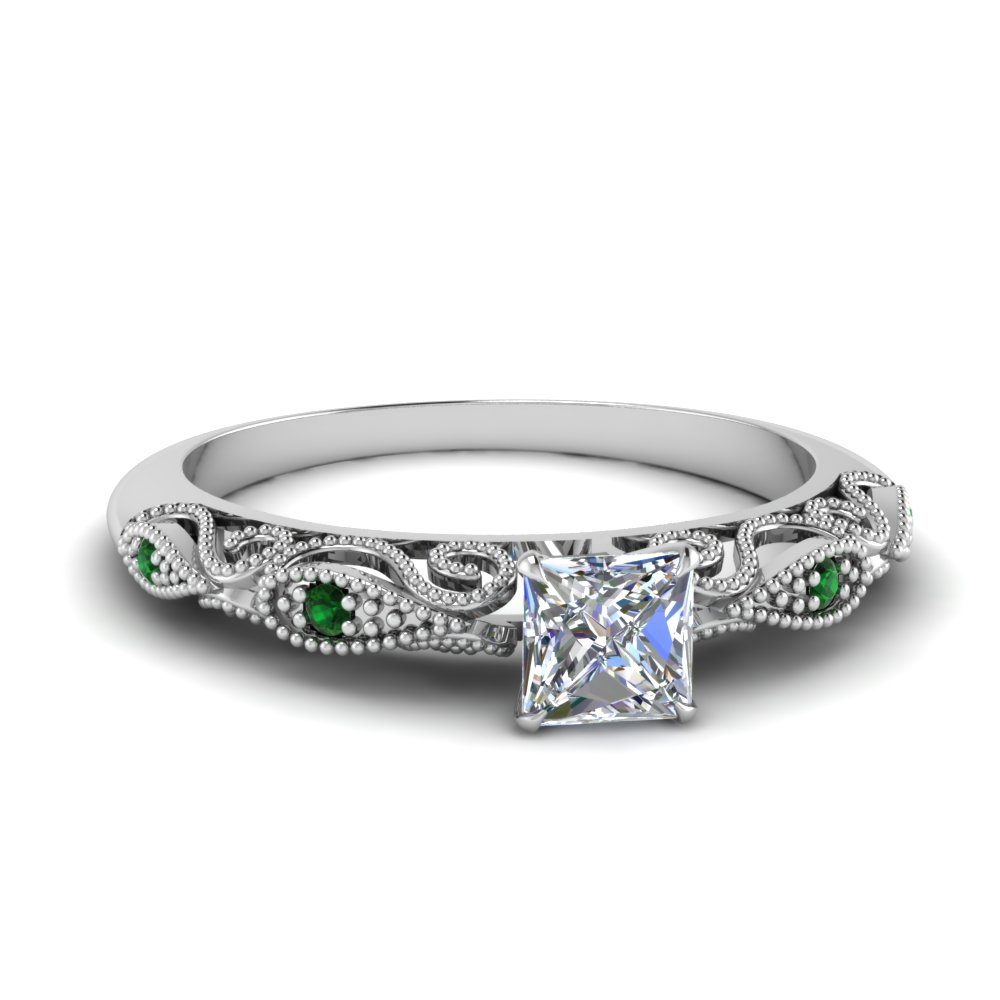 paisley princess cut diamond engagement ring with emerald in FD69805PRRGEMGR NL WG.jpg