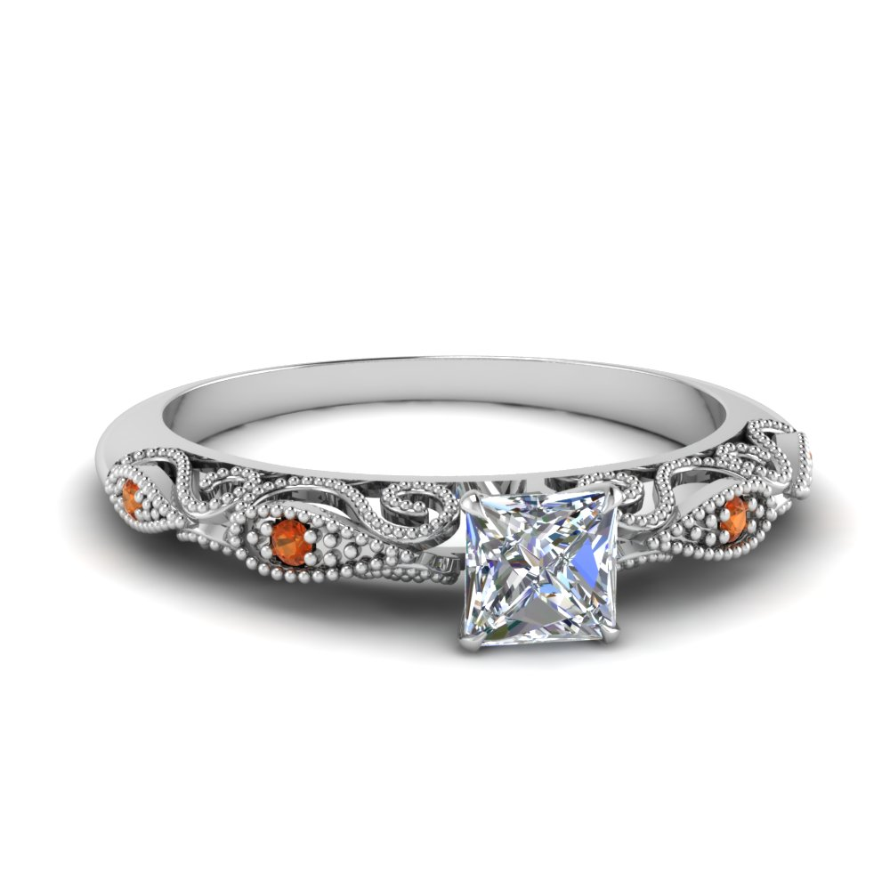paisley princess cut diamond engagement ring with orange sapphire in FD69805PRRGSAOR NL WG.jpg