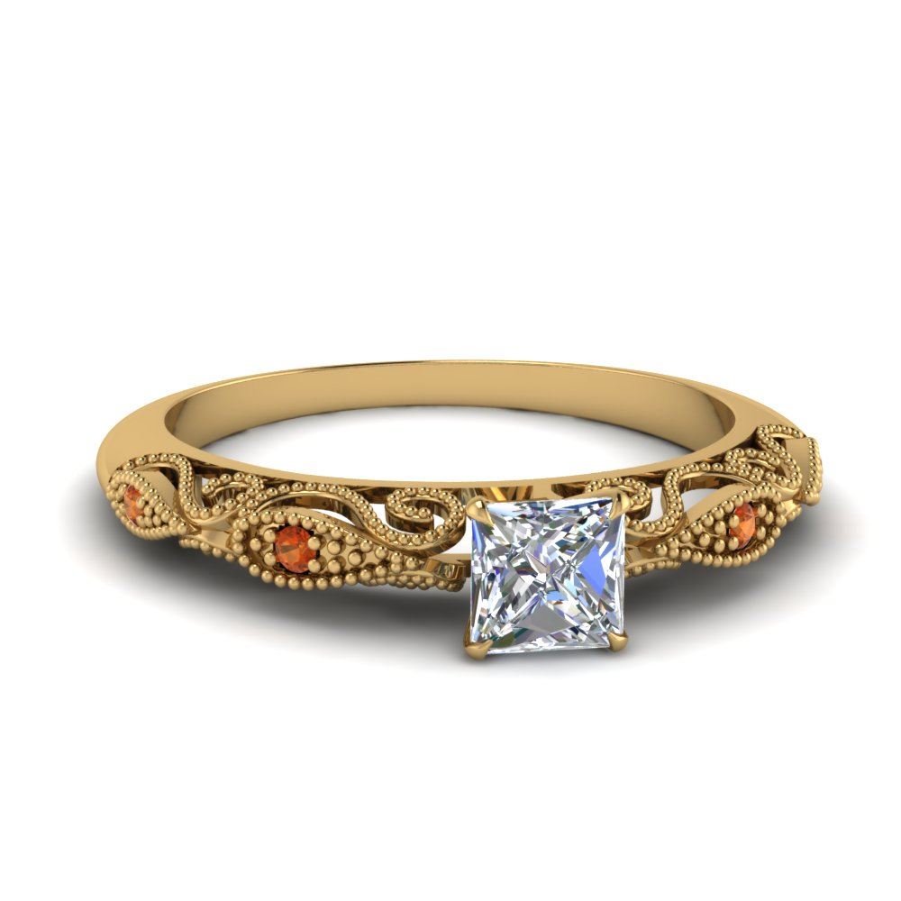 paisley princess cut diamond engagement ring with orange sapphire in FD69805PRRGSAOR NL YG.jpg