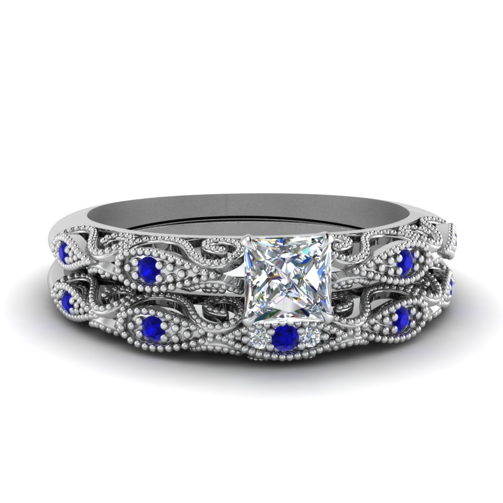 Princess Cut Wedding Sets With Sapphire
