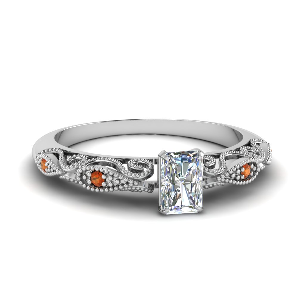 paisley radiant diamond engagement ring with orange sapphire in FD69805RARGSAOR NL WG.jpg