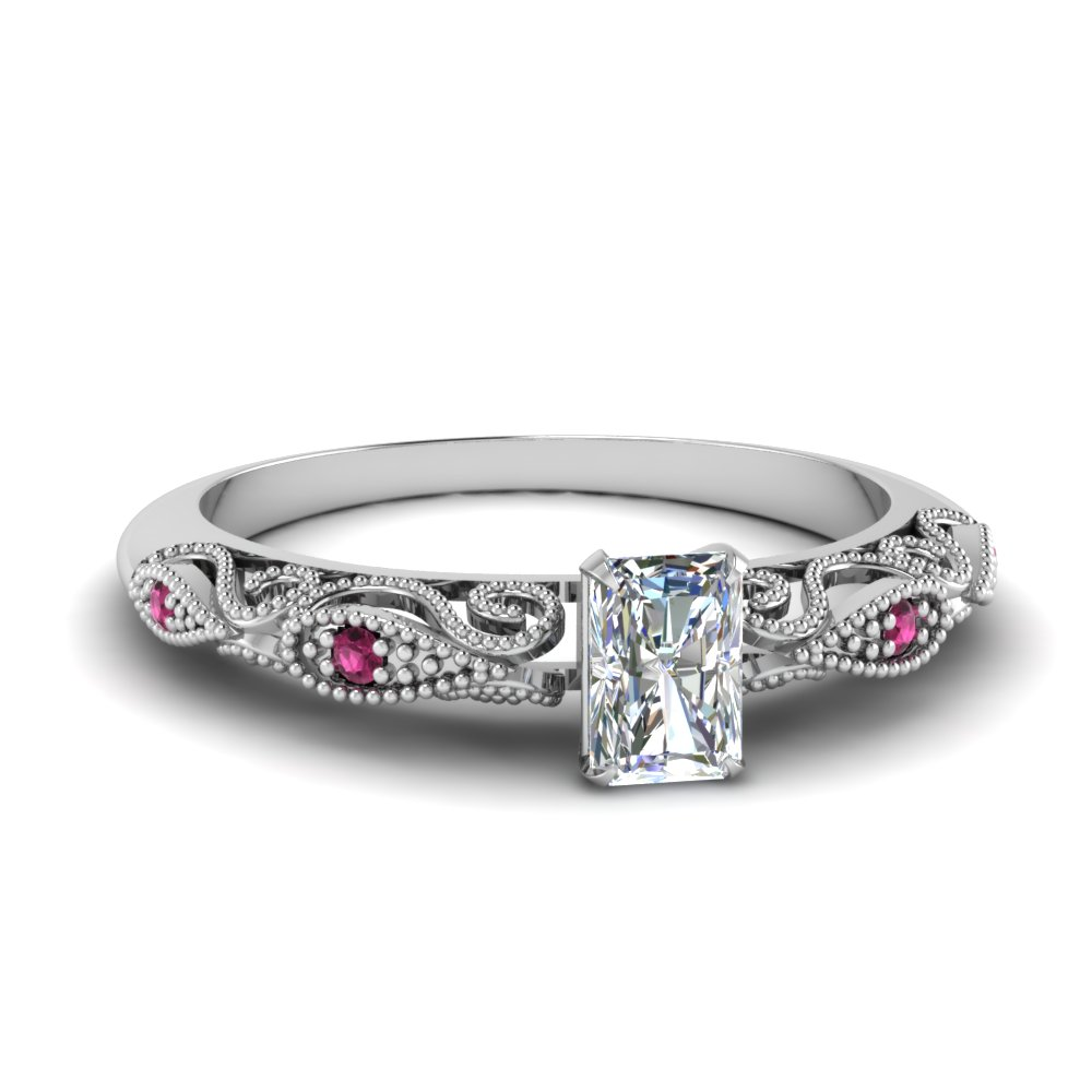 paisley radiant diamond engagement ring with pink sapphire in FD69805RARGSADRPI NL WG.jpg