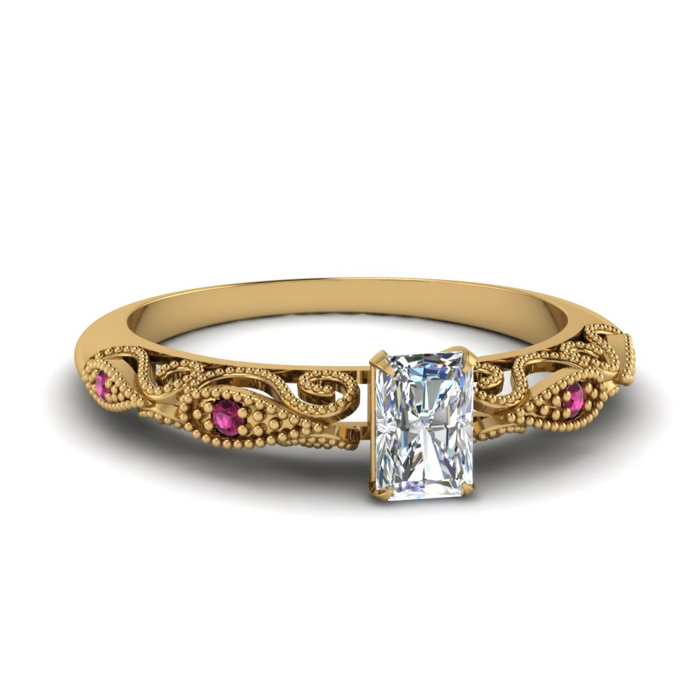 paisley radiant diamond engagement ring with pink sapphire in FD69805RARGSADRPI NL YG.jpg