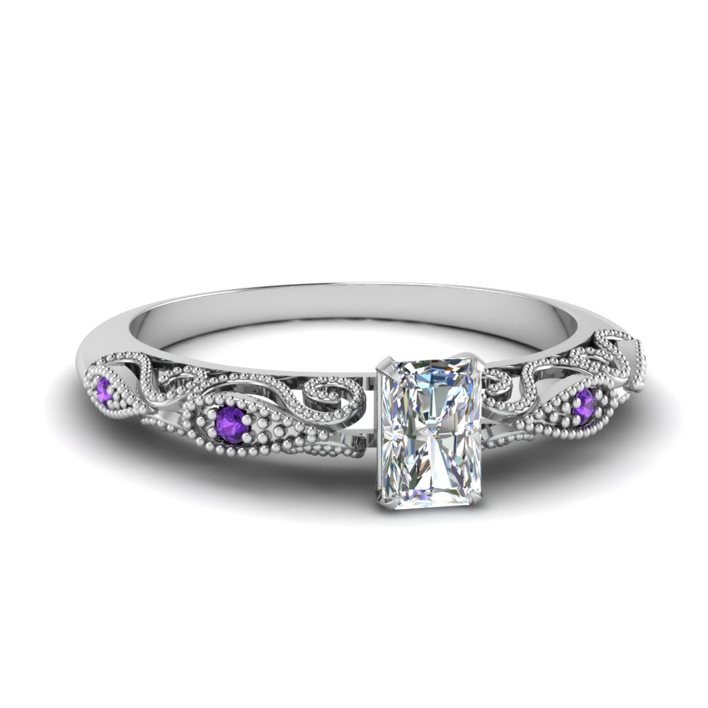 paisley radiant diamond engagement ring with purple topaz in FD69805RARGVITO NL WG.jpg