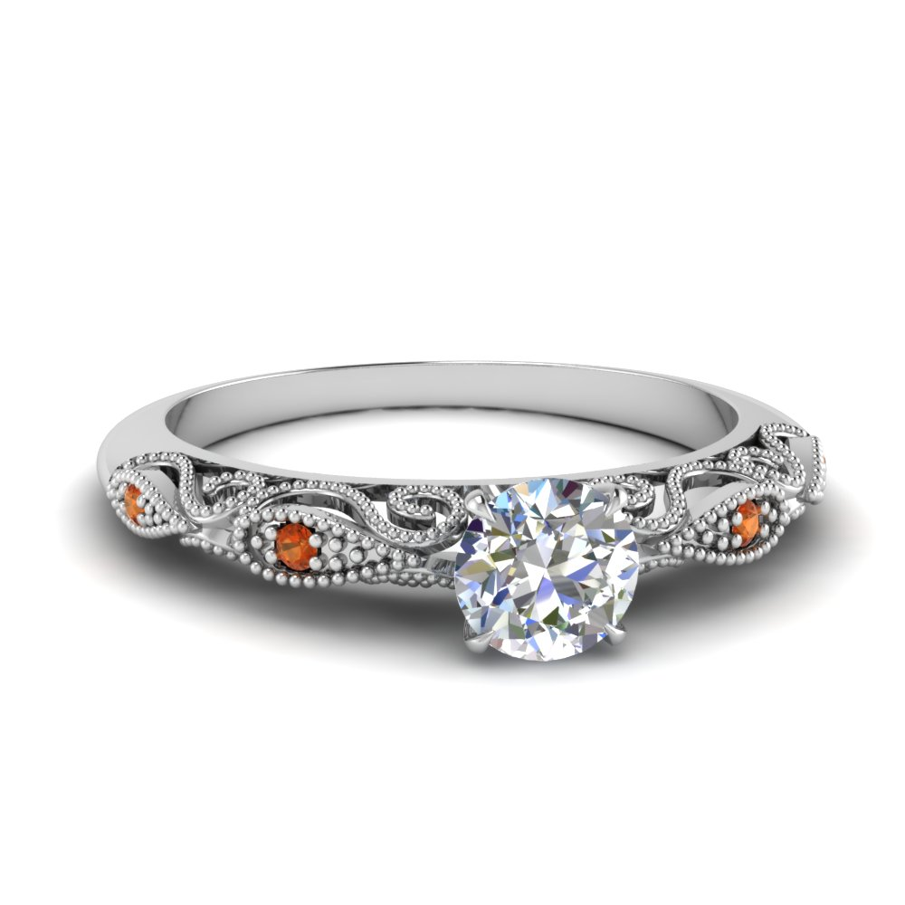 paisley round diamond engagement ring with orange sapphire in FD69805RORGSAOR NL WG.jpg