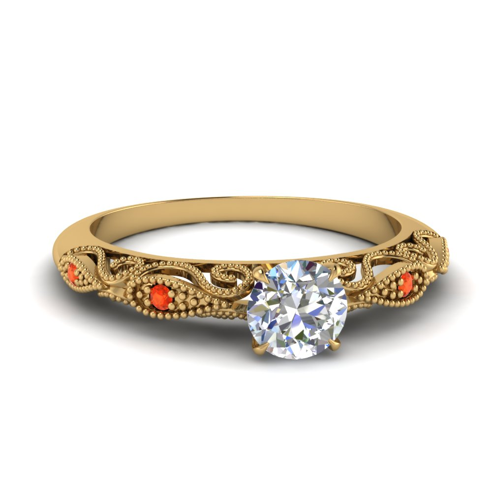 paisley round diamond engagement ring with orange topaz in FD69805RORGPOTO NL YG.jpg