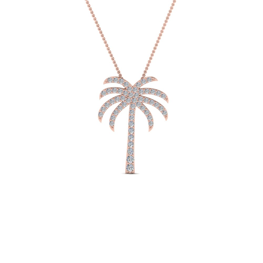 palm tree diamond pendant necklace in 14K rose gold FDPD67127 NL RG