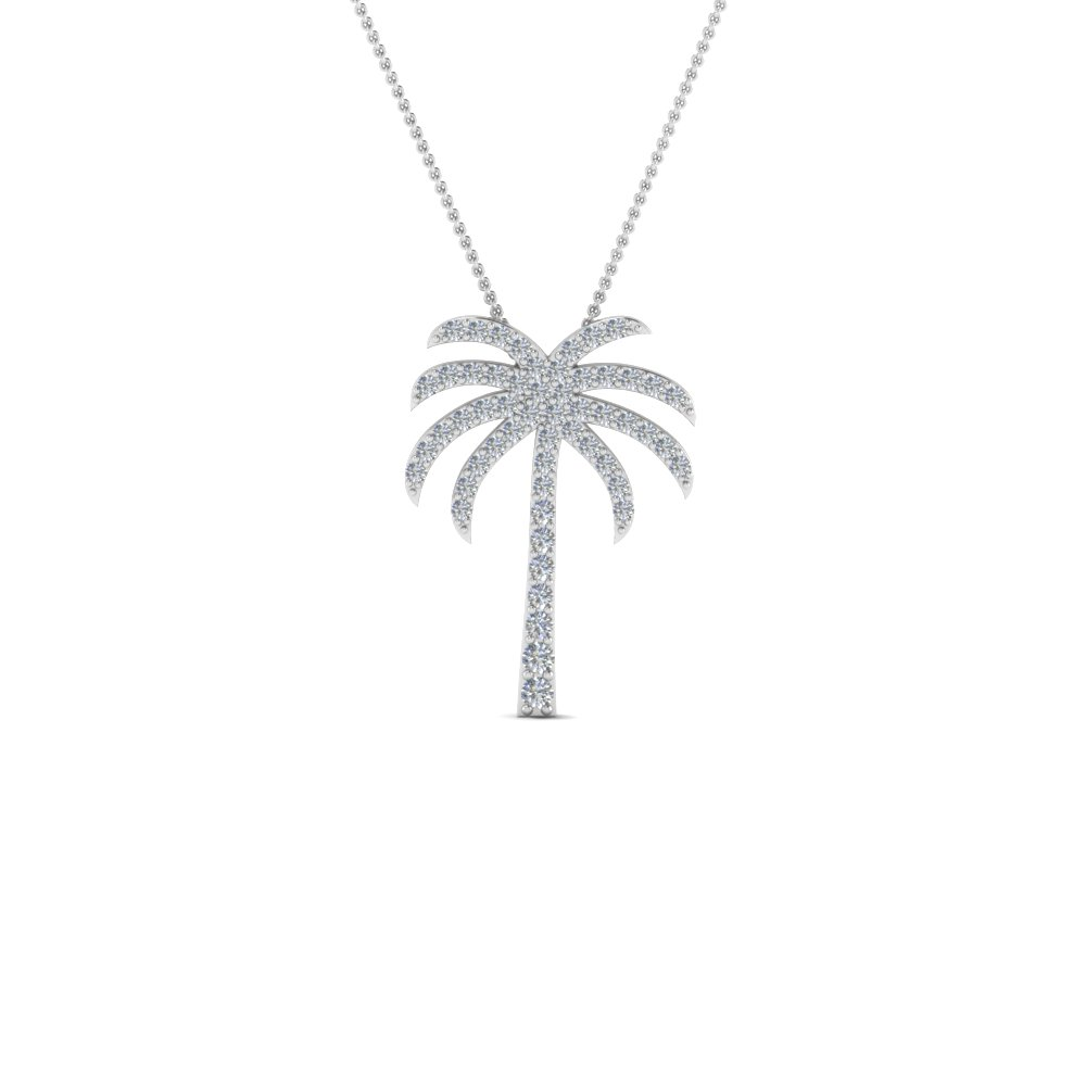 Platinum Palm Tree Diamond Pendant Necklace