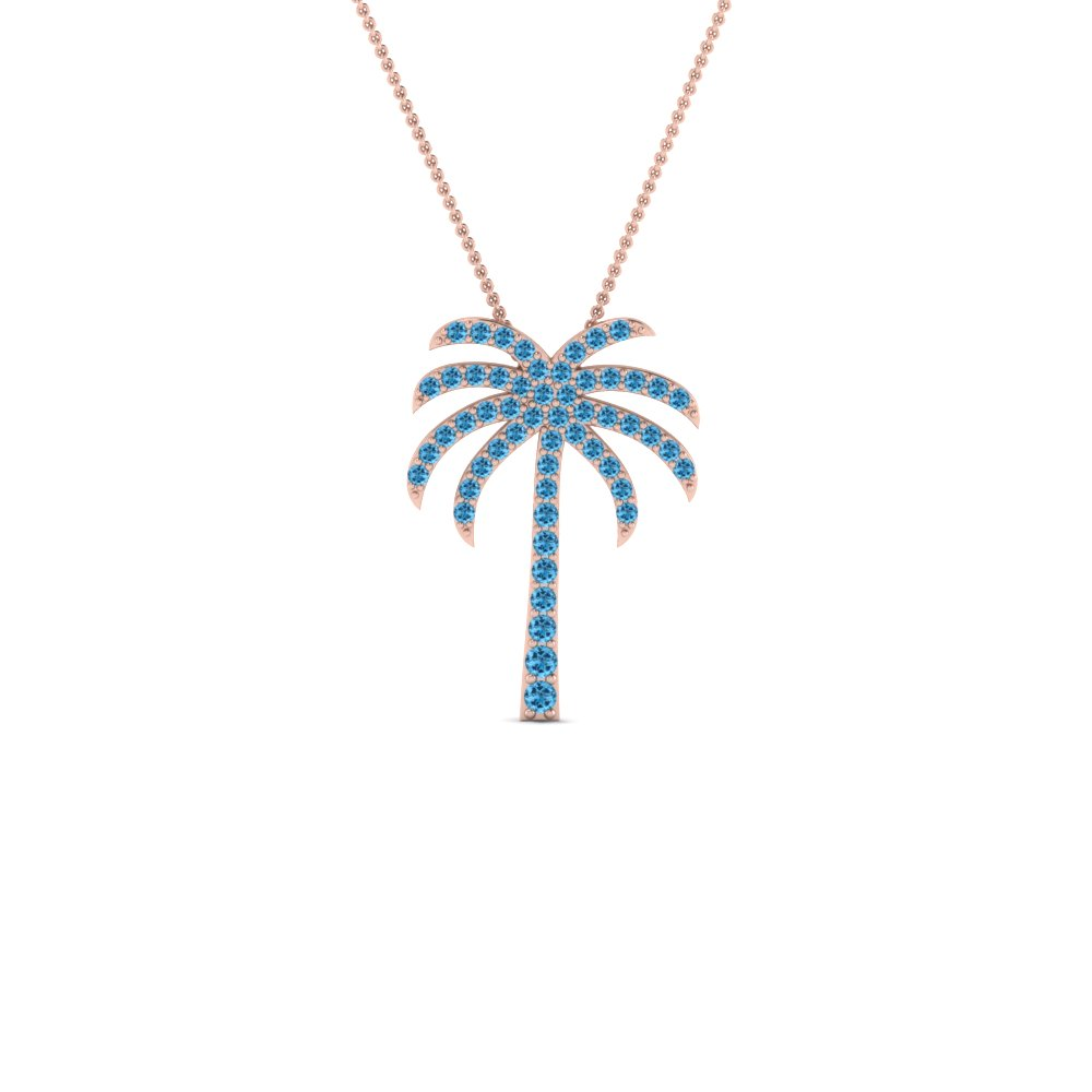 Palm tree blue topaz pendant necklace in 14k rose gold fascinating palm tree blue topaz pendant necklace in fdpd67127gicblto nl rg aloadofball Images