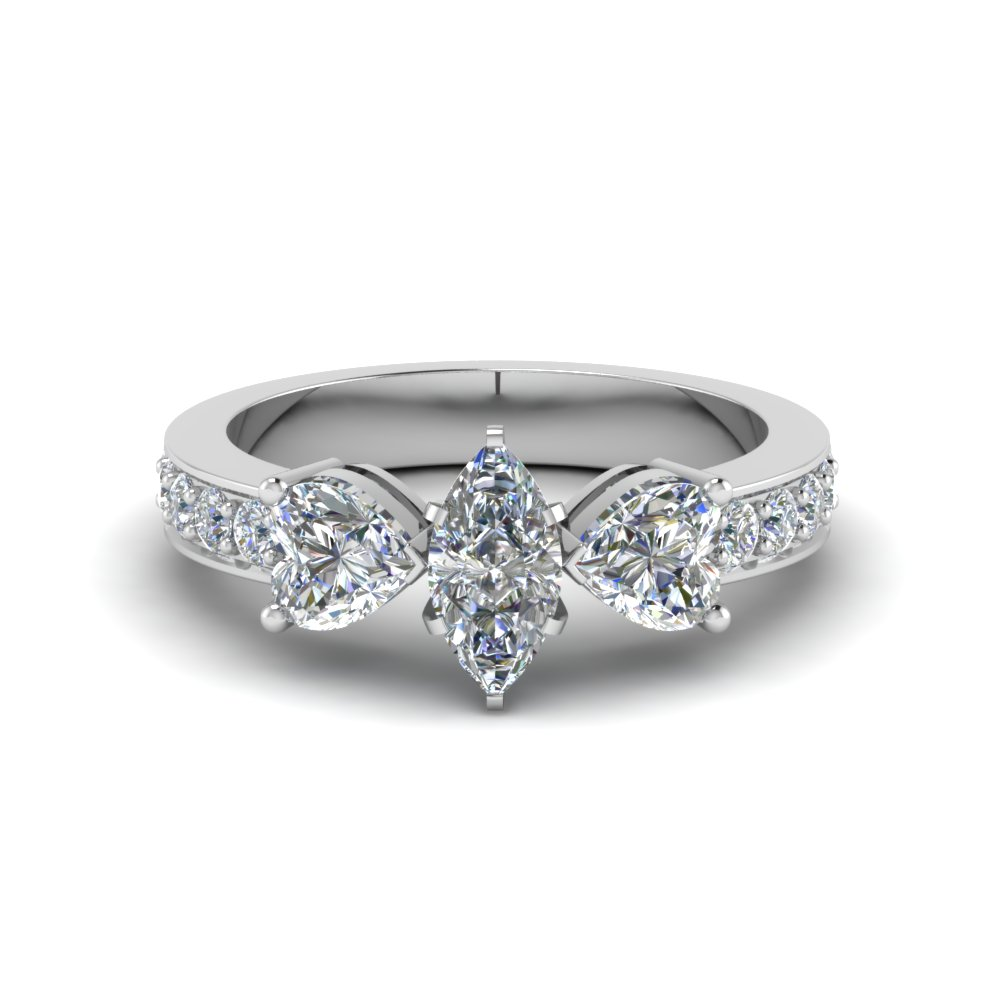 pave 3 stone marquise diamond engagement ring 2 carat in FD8031MQR NL WG