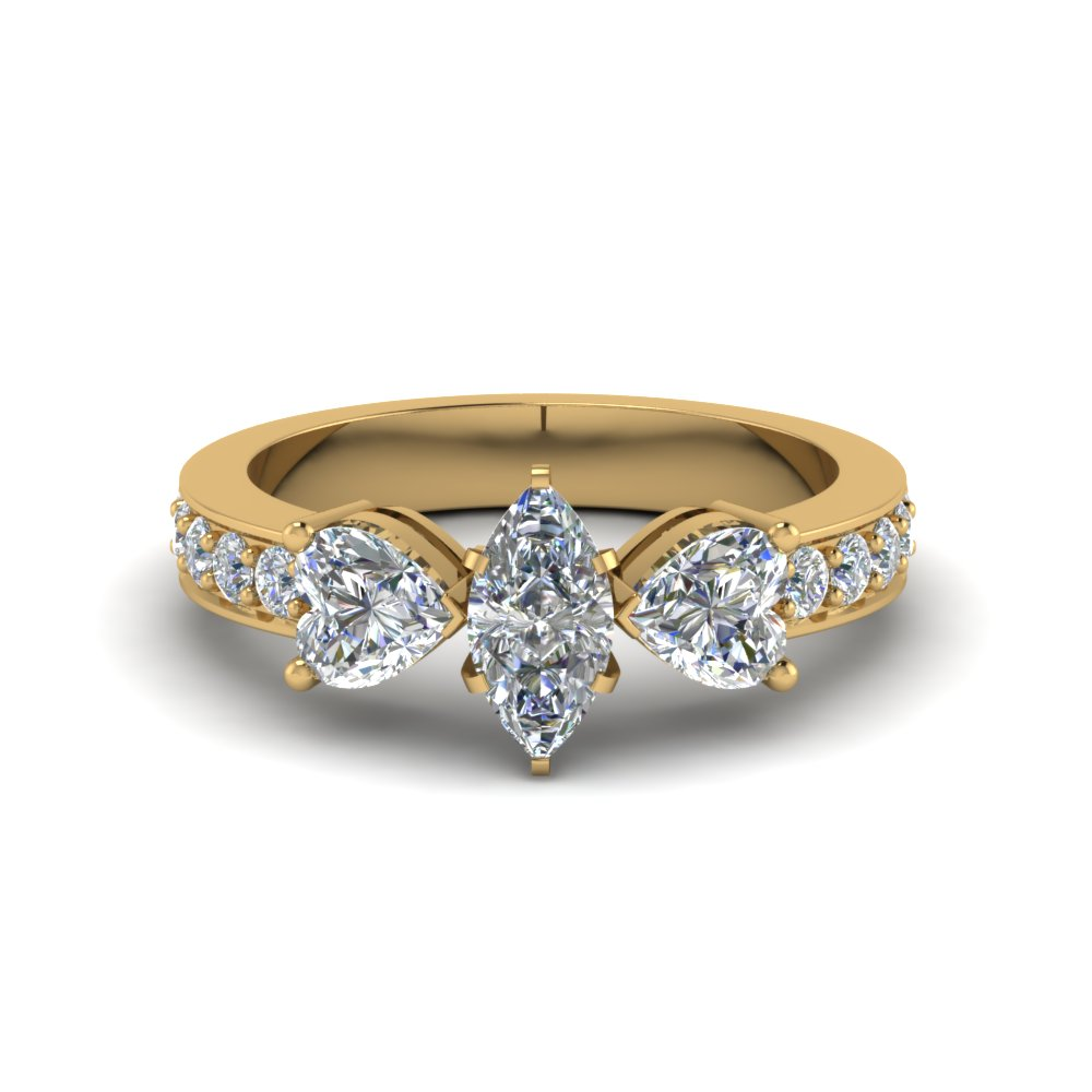 Marquise Cut 3 Stone Ring 2 Ctw.