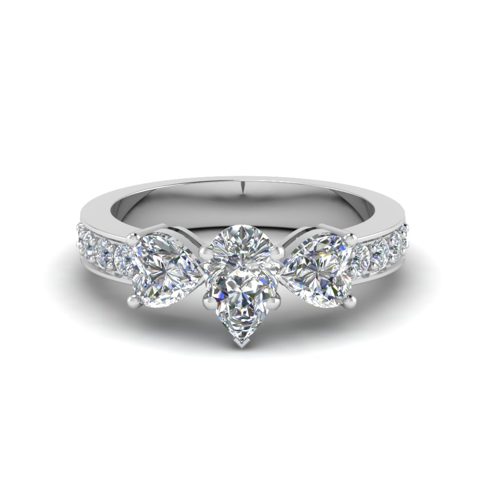 Pear Shaped Pave 3 Stone Ring