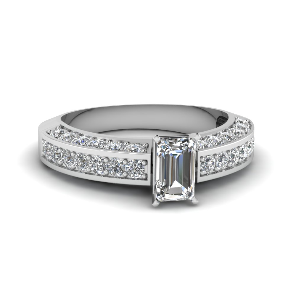 pave accent diamond emerald cut engagement ring in FDENR6458EMR NL WG