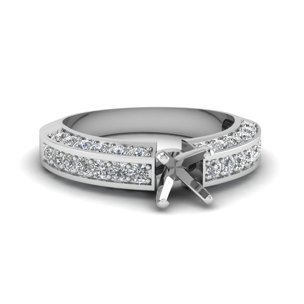 pave accent diamond semi mount engagement ring in FDENR6458SMR NL WG