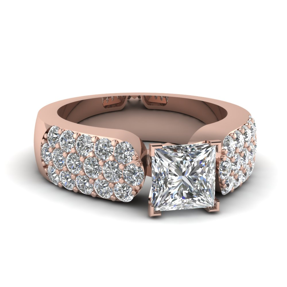 pave accented 2 ct. princess cut diamond big engagement ring in 14K rose gold FDENR993PRR NL RG