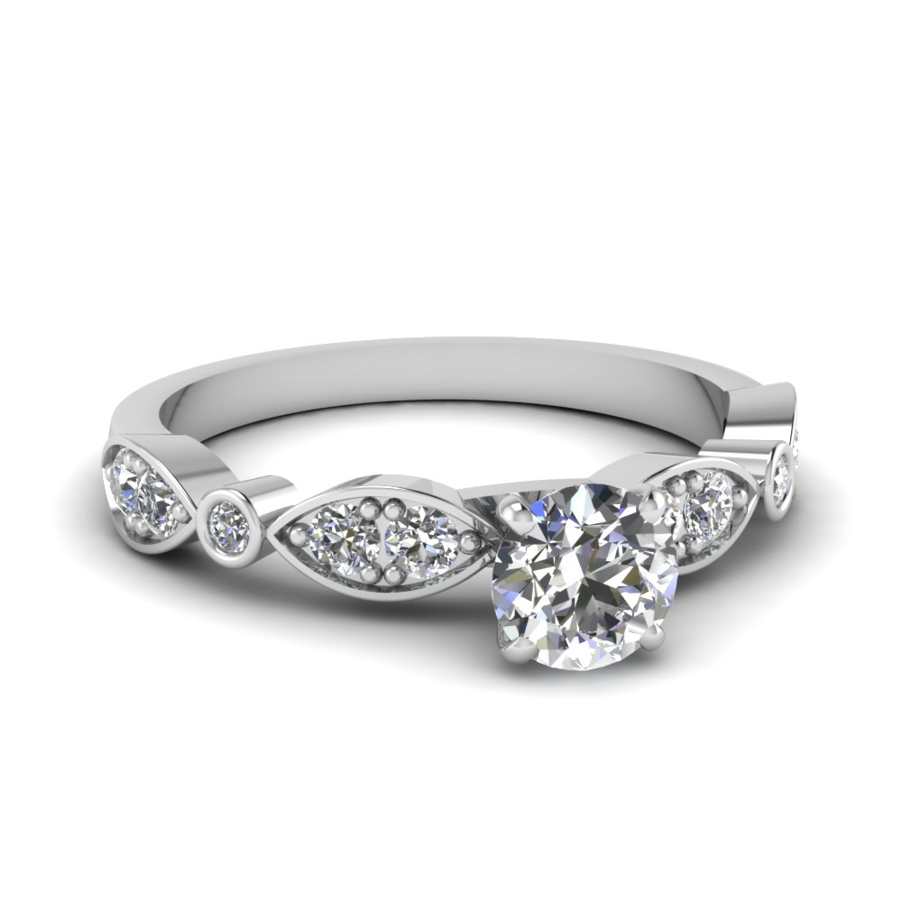 pave and bezel half carat diamond engagement ring in 14K white gold FDENS2035ROR NL WG