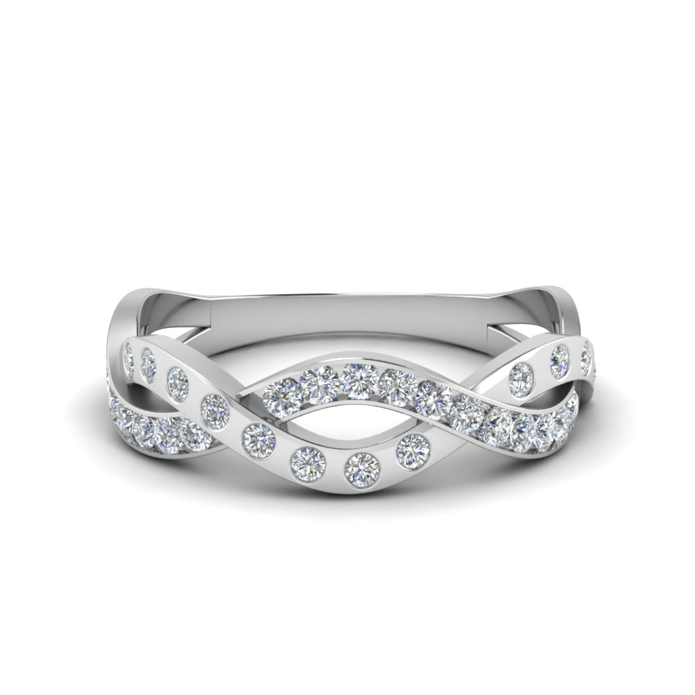 pave and bezel infinity diamond band in FDWB1574B NL WG