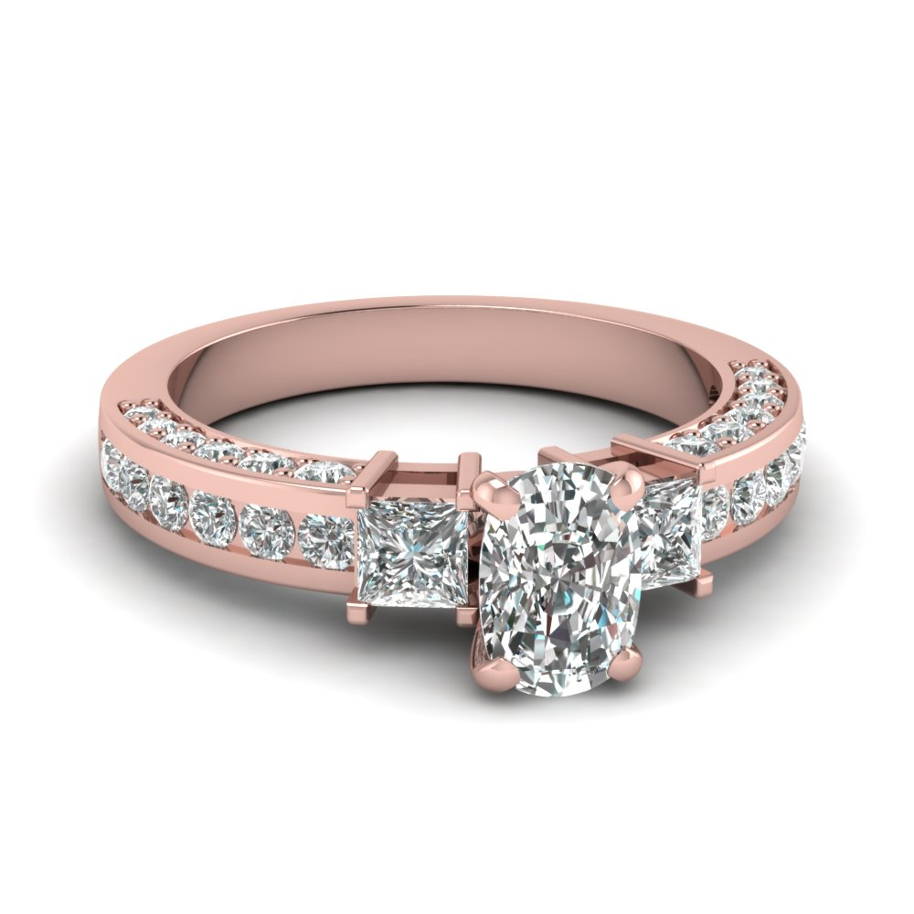 pave and channel diamond shank 1.50 ct. cushion cut preset ring in 14K rose gold FDENS1096CUR NL RG