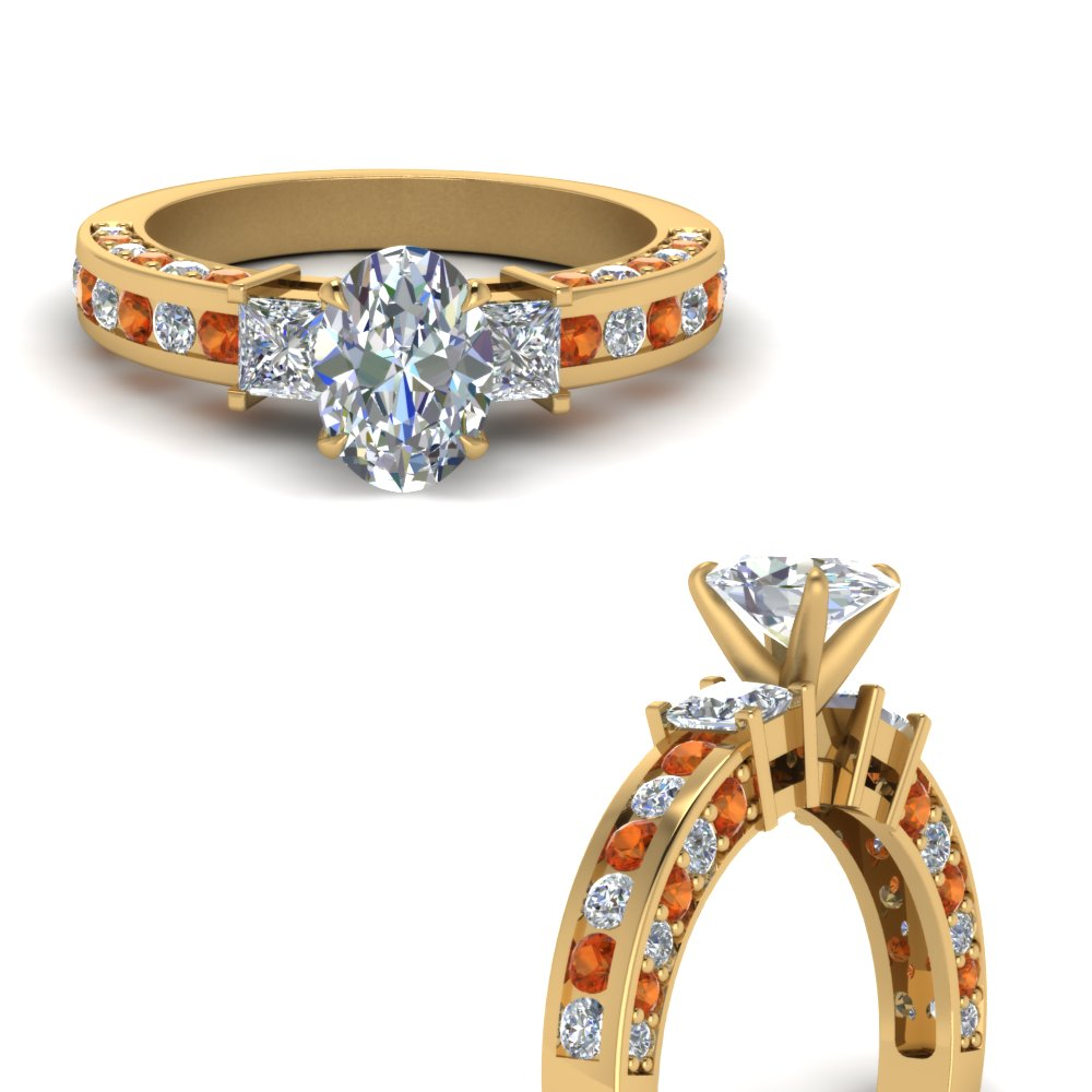 pave and channel side stone oval shaped diamond engagement ring with orange sapphire in FDENS1096OVRGSAORANGLE3 NL YG.jpg