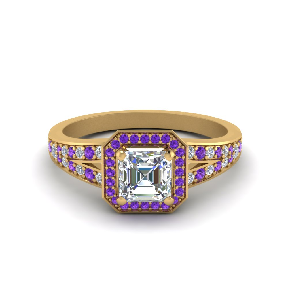 Purple Topaz Split Shank Ring