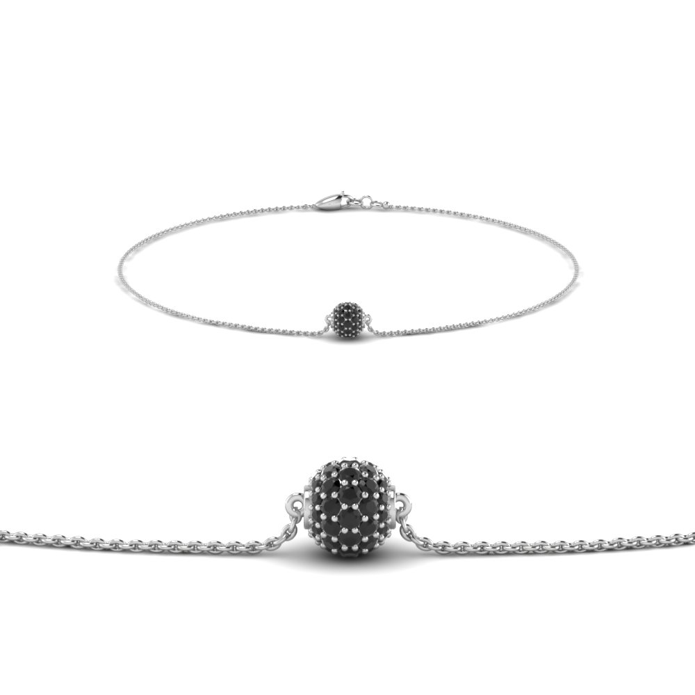 Pave Ball Black Diamond Chain Bracelet
