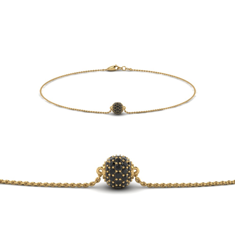 pave ball chain bracelet with black diamond in FDBRC8471GBLACK NL YG