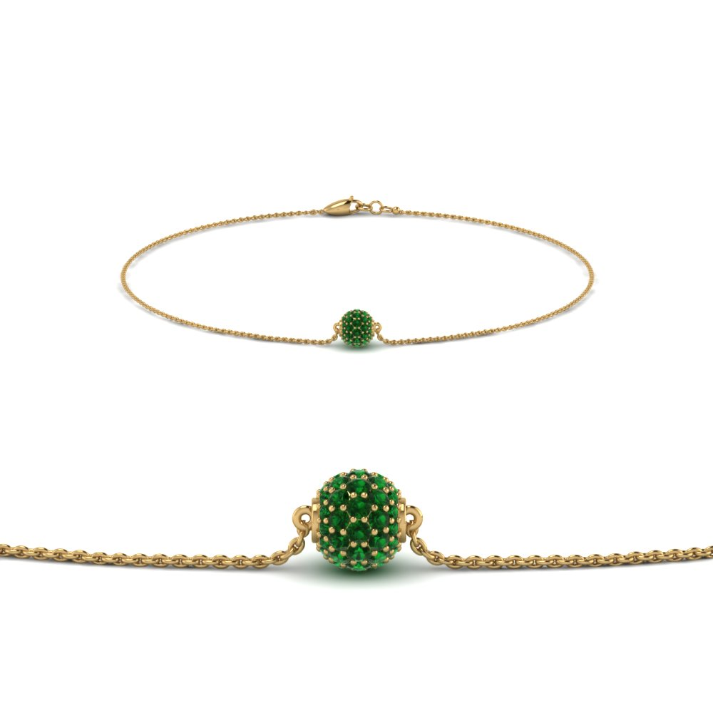 Emerald Pave Ball Chain Bracelet