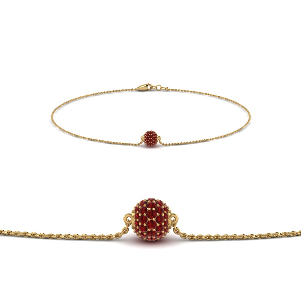 Pave Ball Chain Bracelet With Ruby In Fdbrc8471grudr Nl Yg