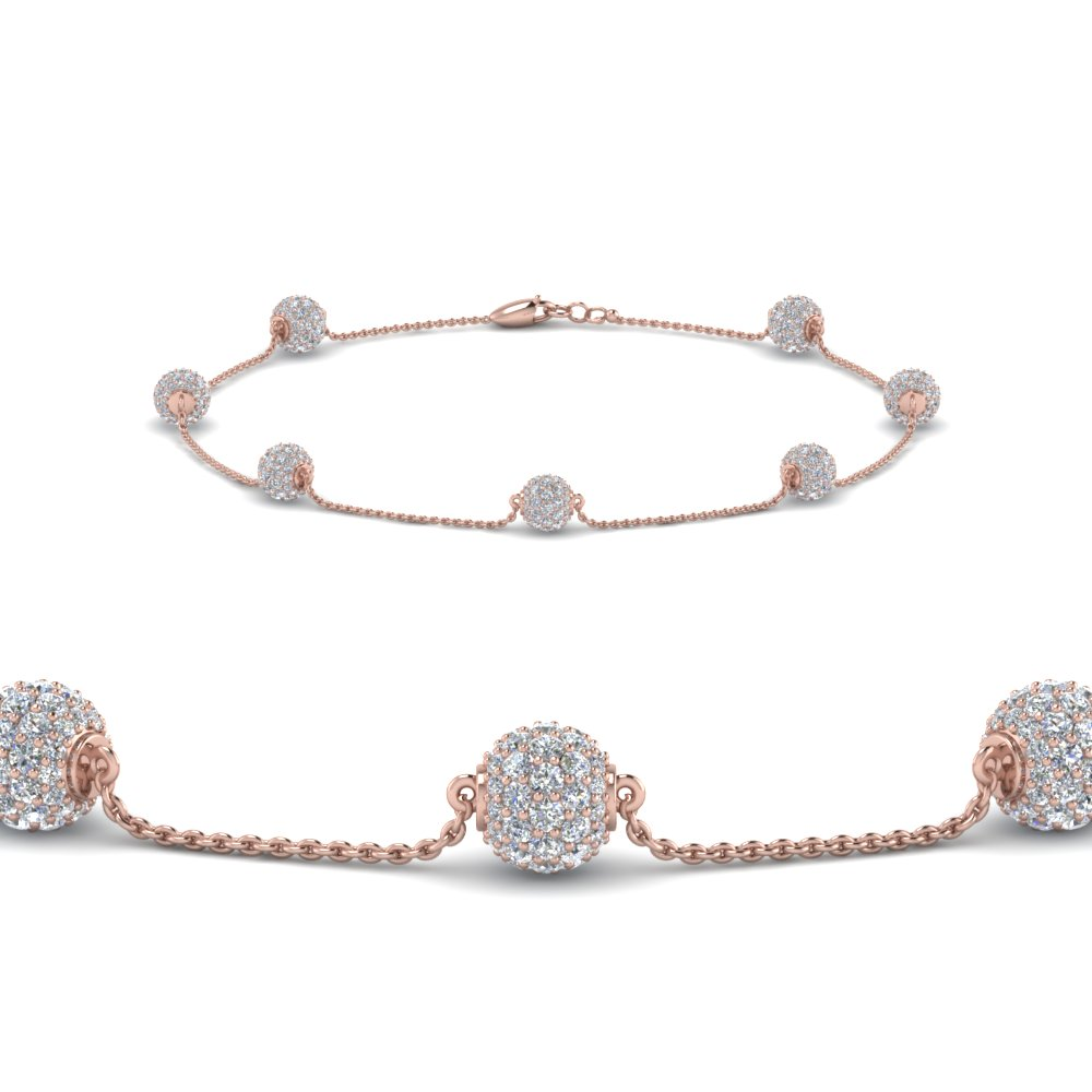 pave ball diamond bracelet in FDBRC8432 NL RG