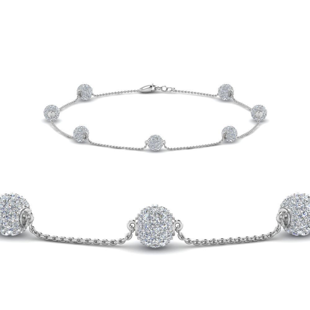 pave ball diamond bracelet in 950 Platinum FDBRC8432 NL WG
