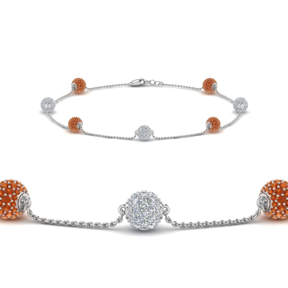 diamond sapphire in jewelry with white bracelet nl ball gold orange pave wg bracelets