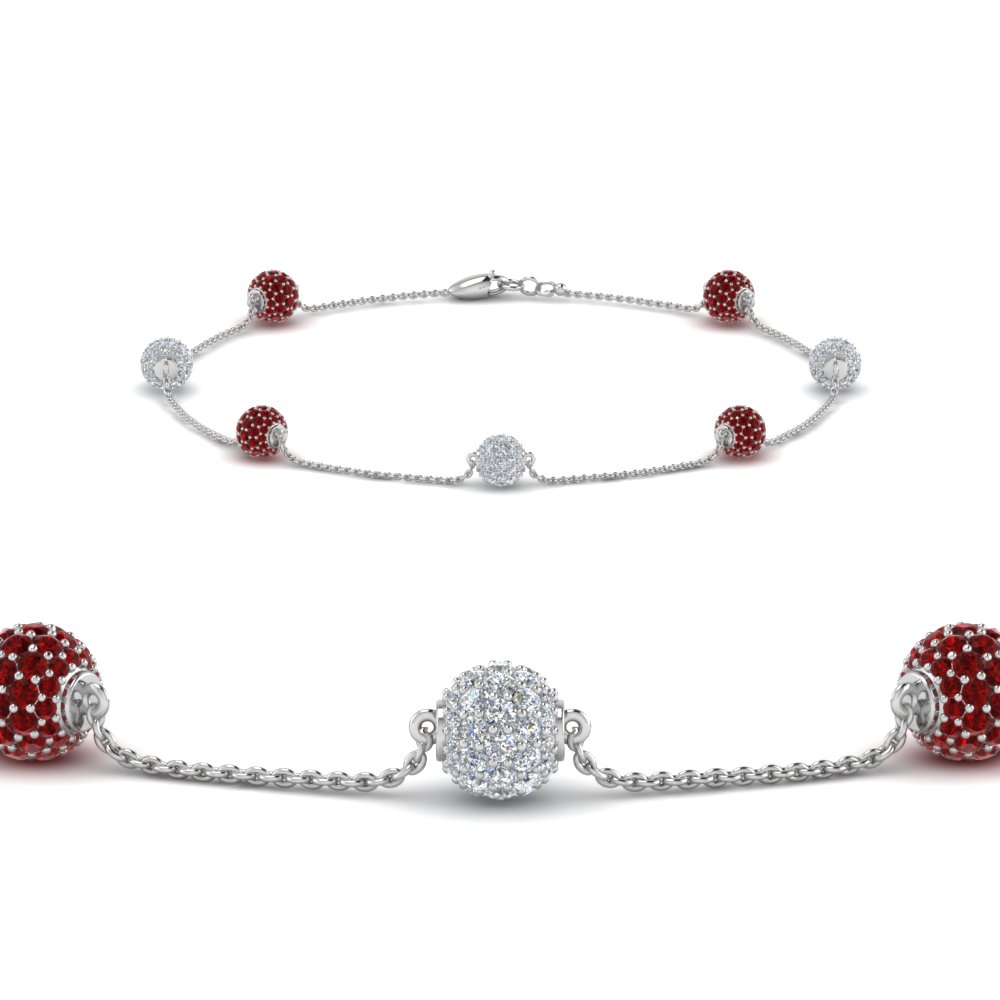 Pave Ruby Ball Diamond Bracelet