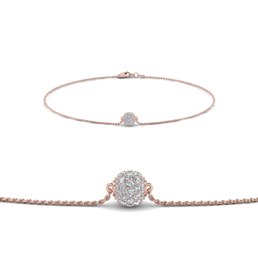 pave ball diamond chain bracelet in FDBRC8471 NL RG