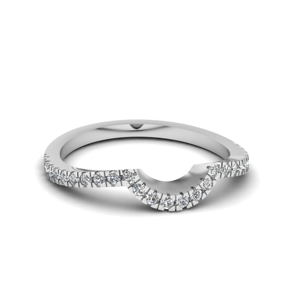 Pave Curved Diamond Womens Wedding Band In 14K White Gold ...