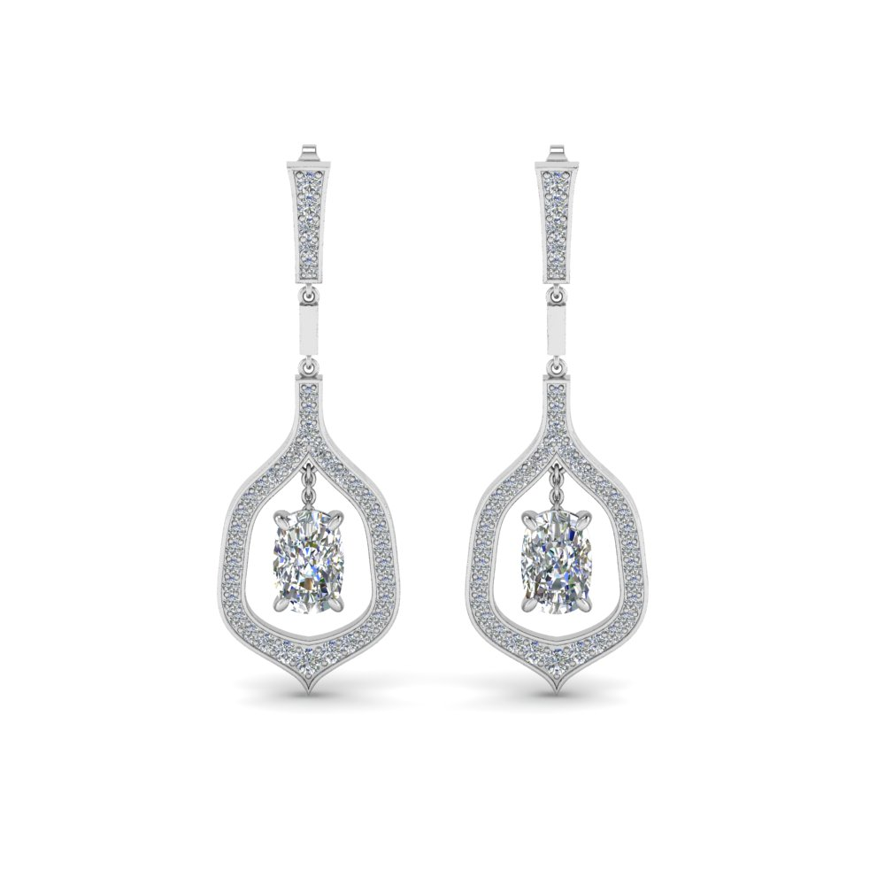 pave cushion cut diamond drop earring in 14K white gold FDEAR8441CUANGLE1 NL WG