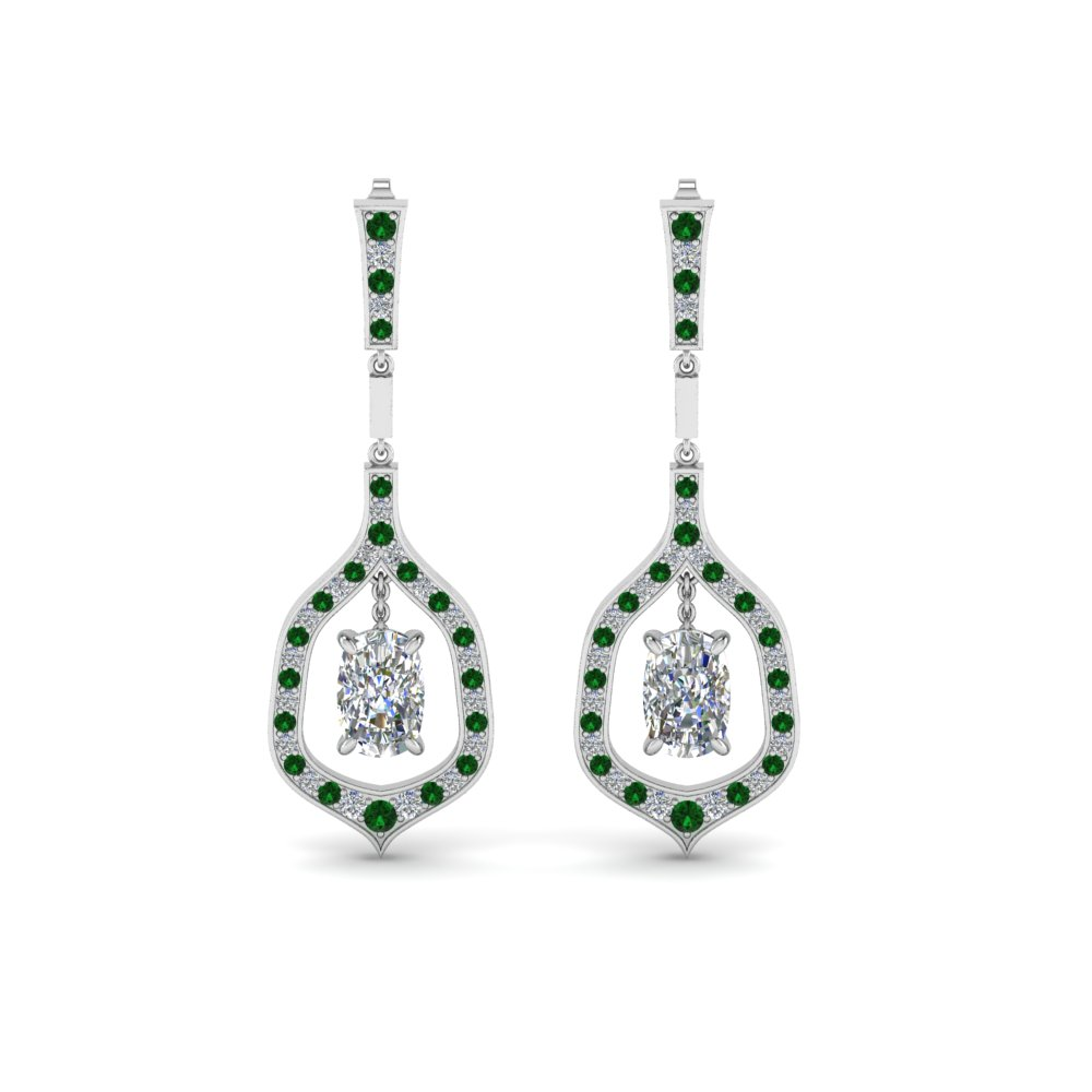 Pave Cushion Cut Diamond Drop Earring