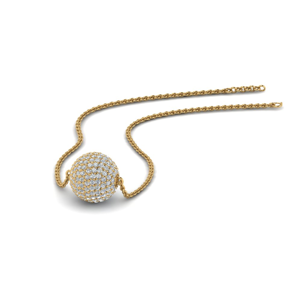 pave diamond ball pendant in FDPD8426 NL YG