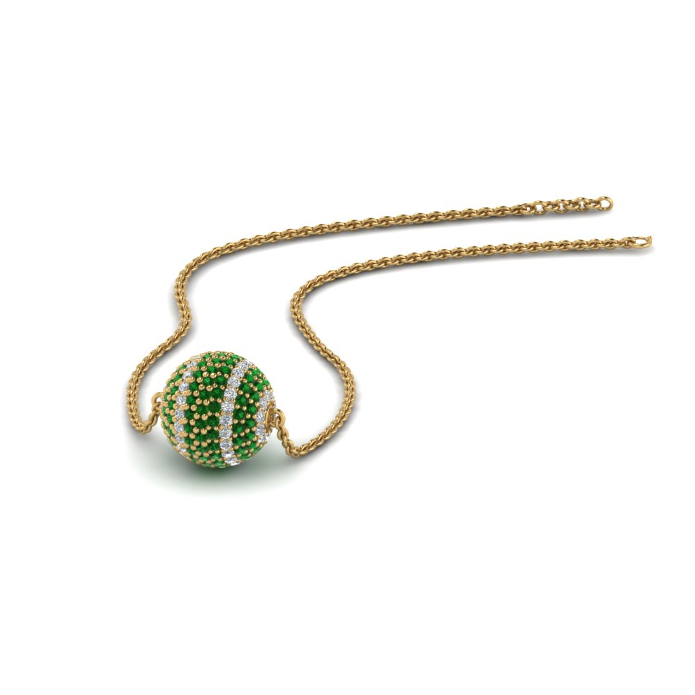 Pave Emerald Ball Pendant