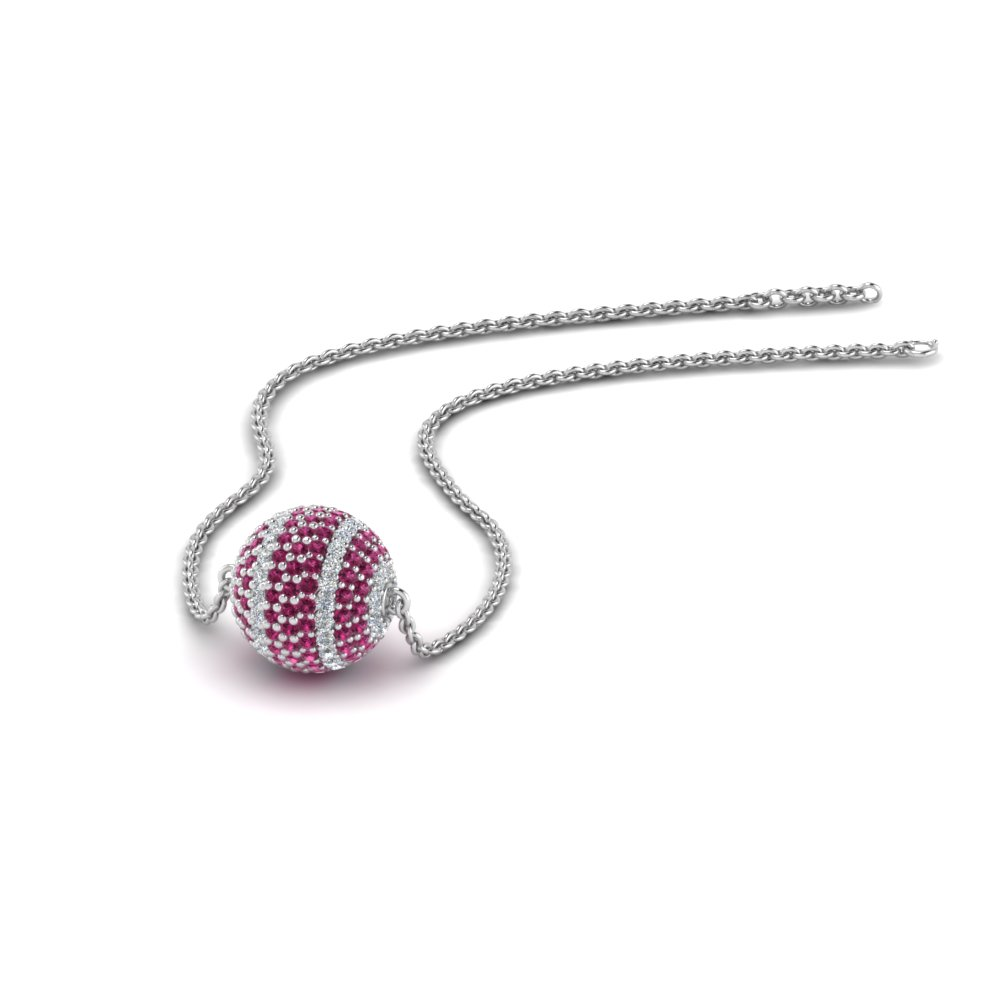 1.25 ct. pave diamond ball pendant with pink sapphire in FDPD8426GSADRPI NL WG