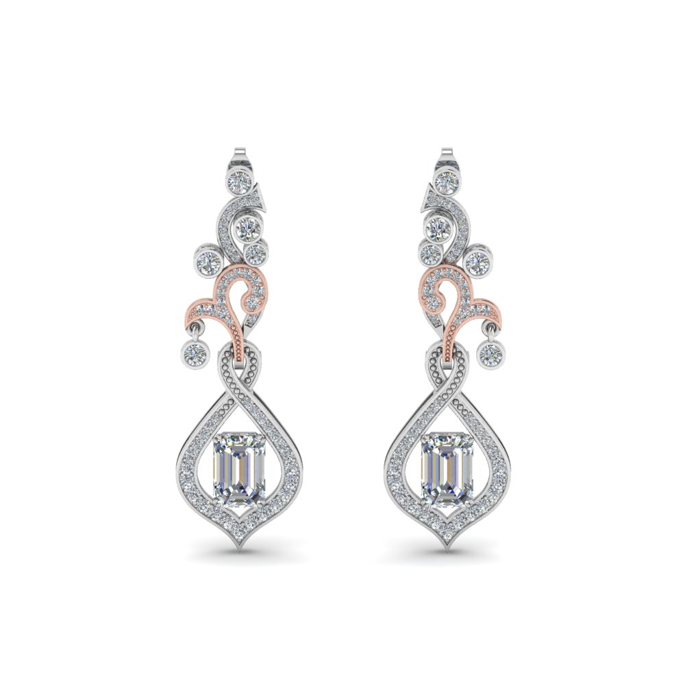 pave diamond dangle drop earring in 14K white gold FDEAR8560ANGLE1 NL WG