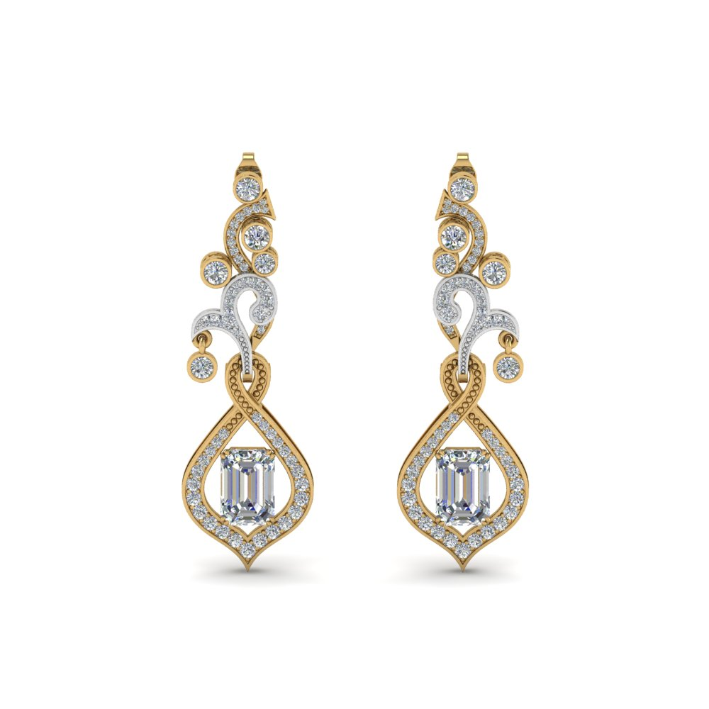 pave diamond dangle drop earring in 14K yellow gold FDEAR8560ANGLE1 NL YG