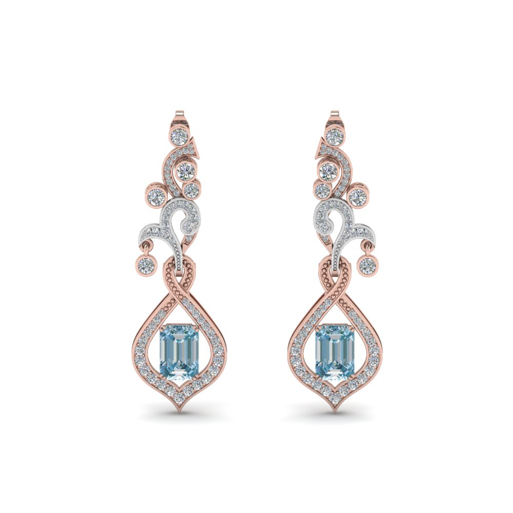 Pave Aquamarine Drop Earring