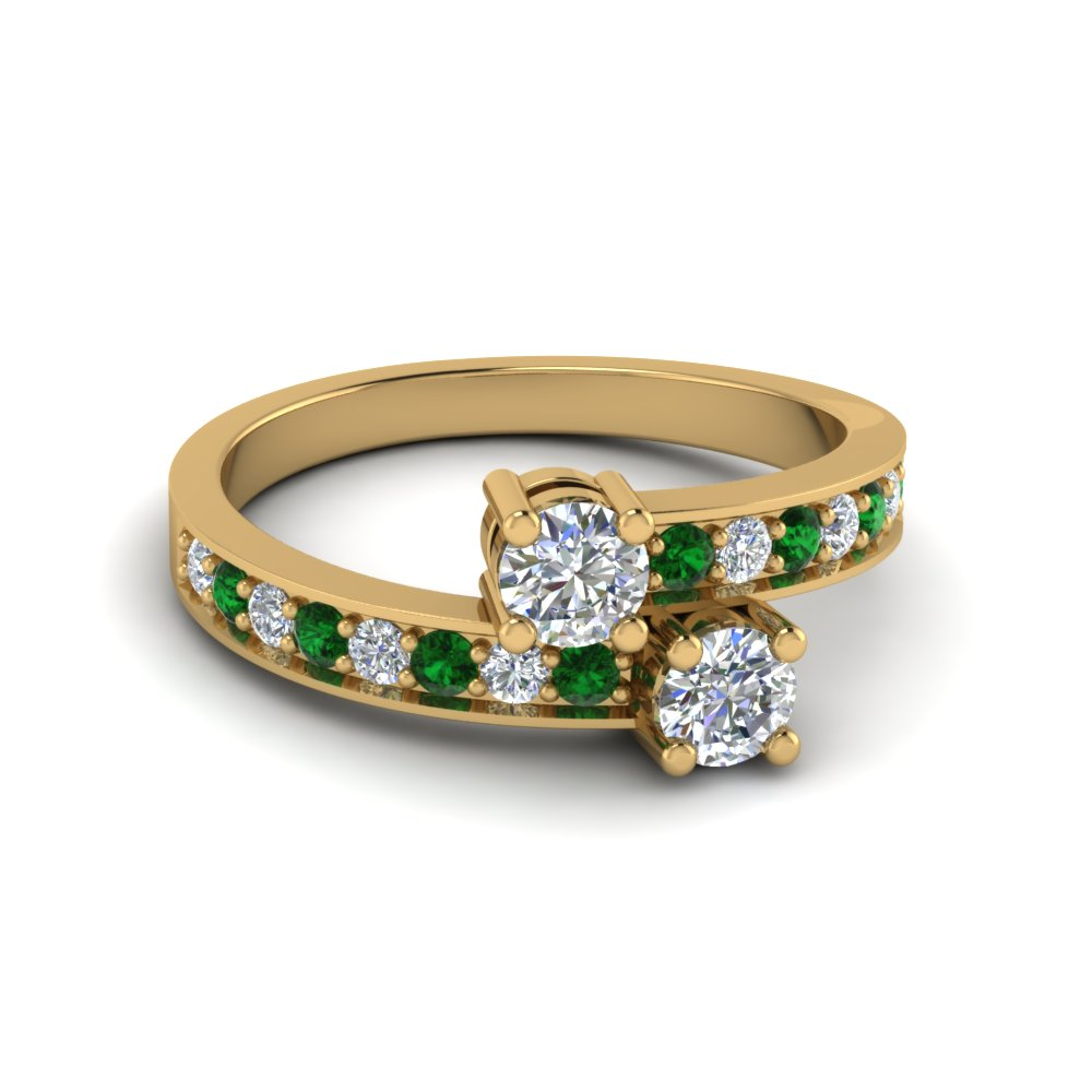 2 Stone Emerald Engagement Ring