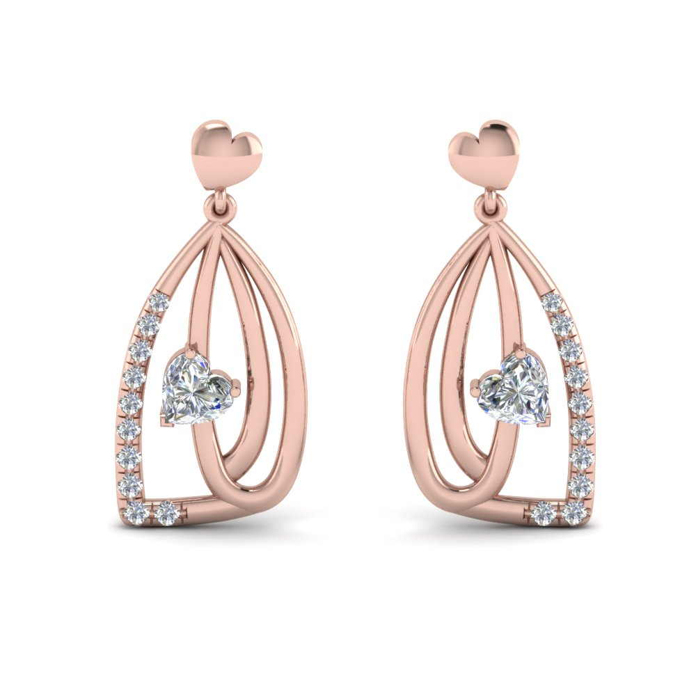 pave diamond heart drop earring in 14K rose gold FDEAR8847 NL RG