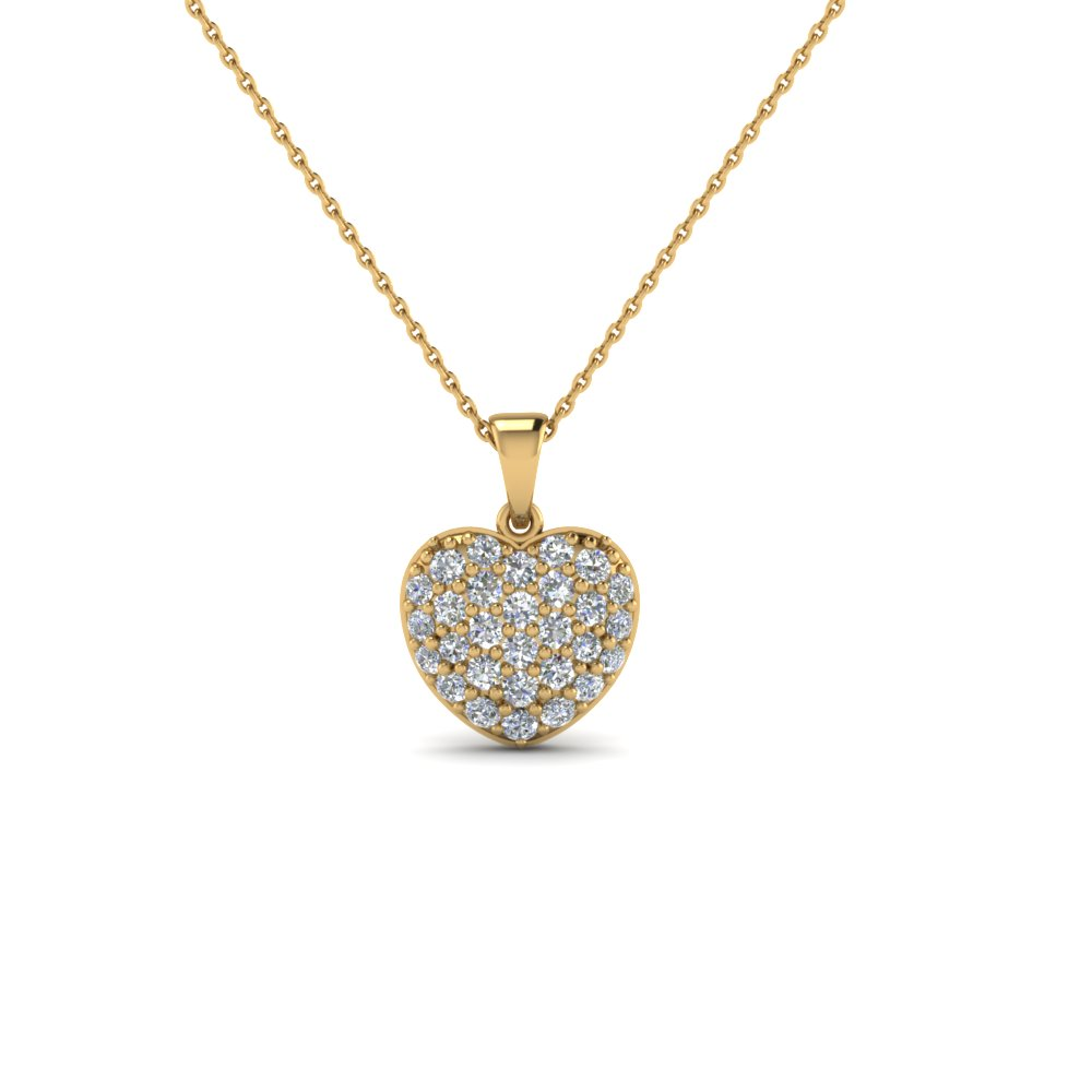 Pave Diamond Heart Pendant Necklace For Women In 14K Yellow Gold ...