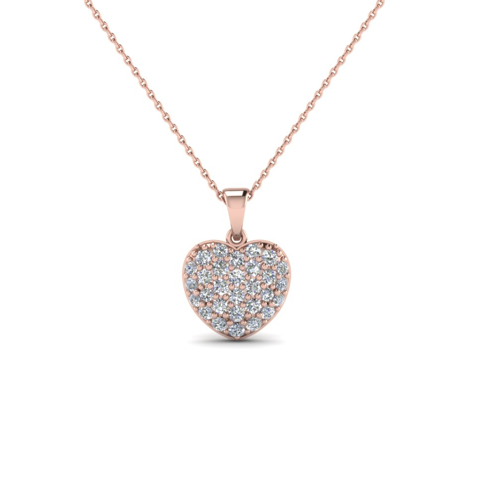 ad66ae6b3a97 pave diamond heart pendant necklace for women in 18K rose gold FDHPD249WD  NL RG